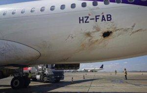 Aereo saudita danneggiato