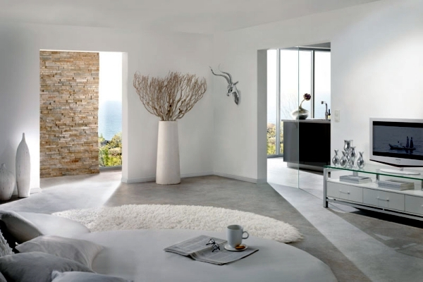 Pure White Minimalist Living Room