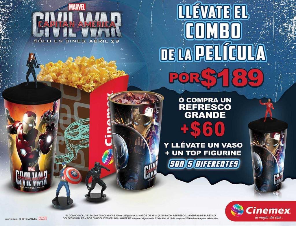 Cinemex Combo Civil War a 189