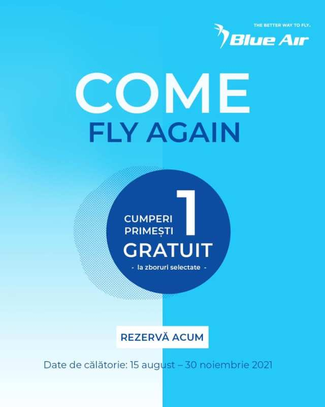 Oferta Blue Air: Cumperi 1 bilet, primesti unul gratis