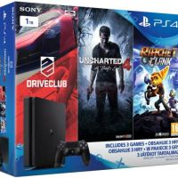 Consola Sony PlayStation 4 Slim 1TB + Trei Jocuri (Uncharted 4, DriveClub, Ratchet&Clank)