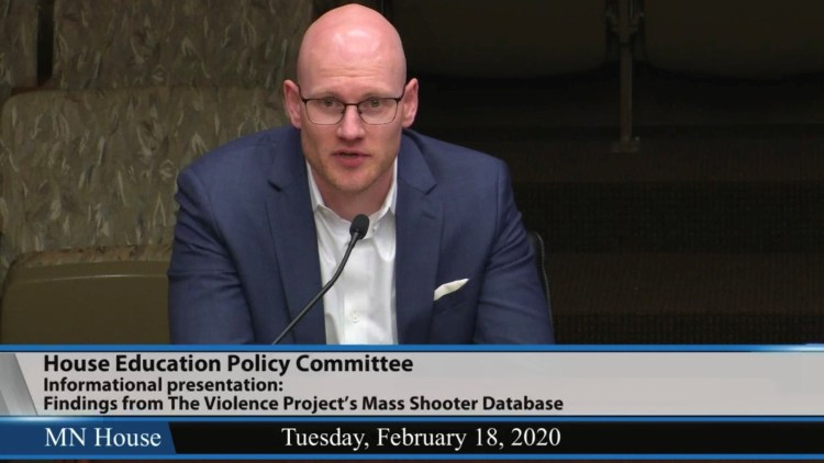 James Densley presenting to the MN House Education Committee