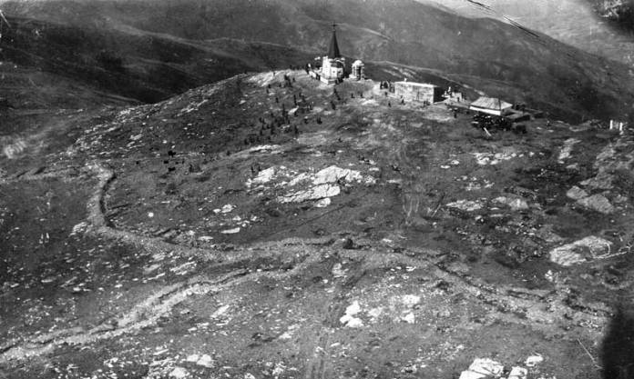 Aerial view of Kajmakcalan Peak in 1930s