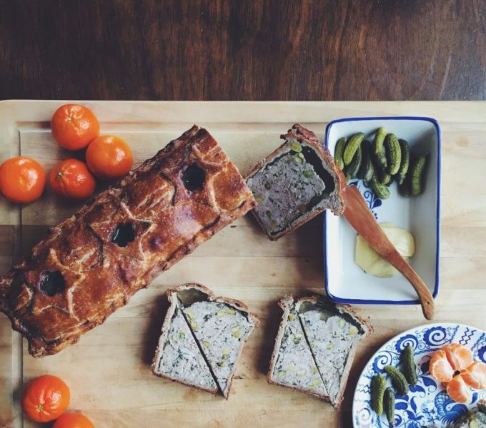 Pate en Croute served with mustard, cornichons and clementines