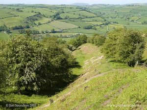 Offa's Dyke Association - the path and dyke descending into the Clun valley, Shropshire
