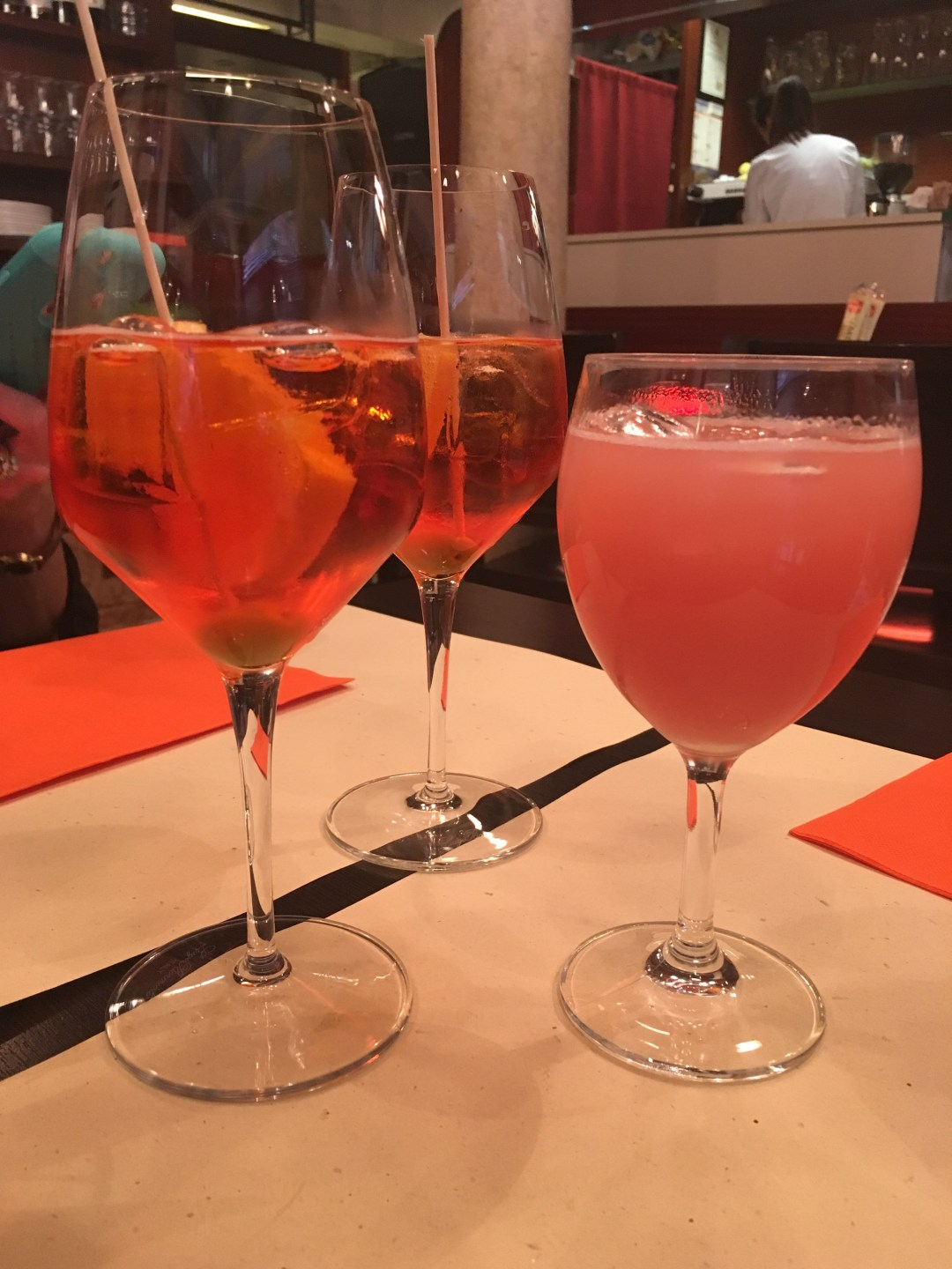 Bellinis and aperol spritz cocktails in Venice