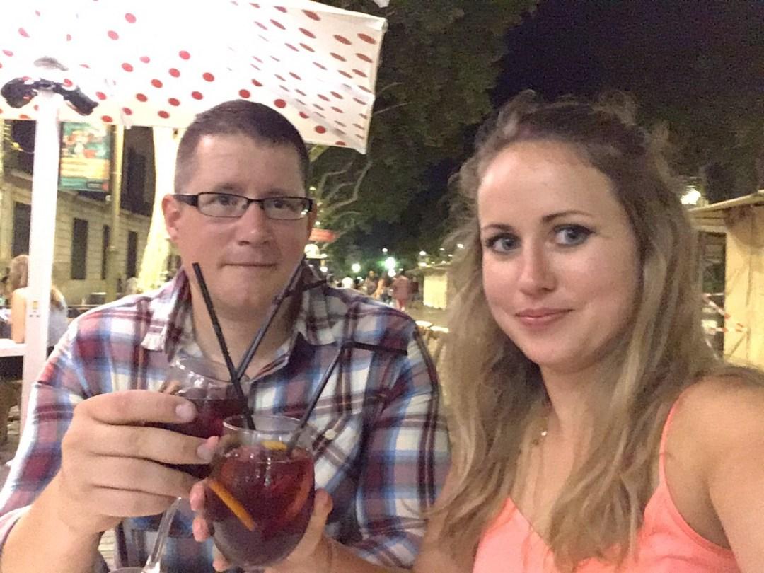 Drinking Sangria in Las Ramblas Barcelona Spain