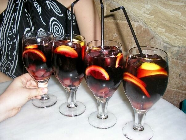 Four glasses of Sangria in Barcelona Spain - what to drink in Barcelona