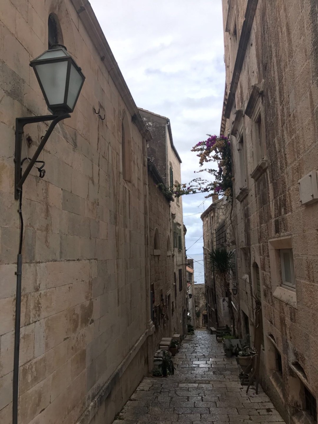 Narrow streets in Korcula's Old Town, Croatia