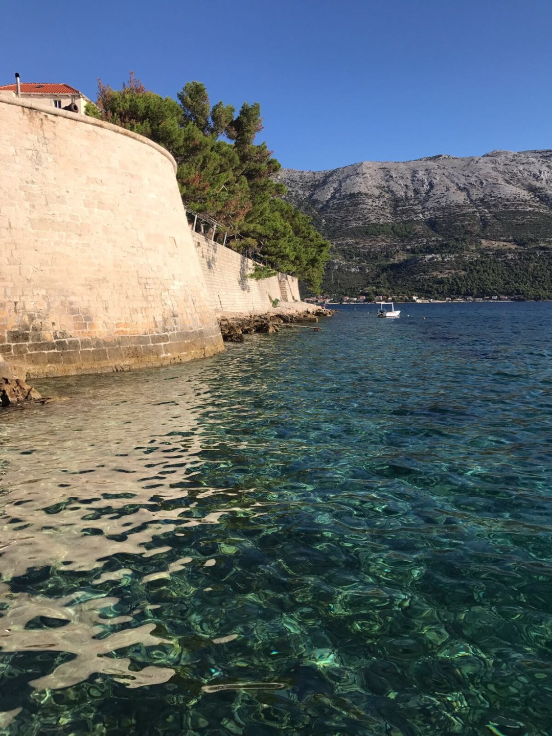 clear seas near Korcula's Old Town, Croatia