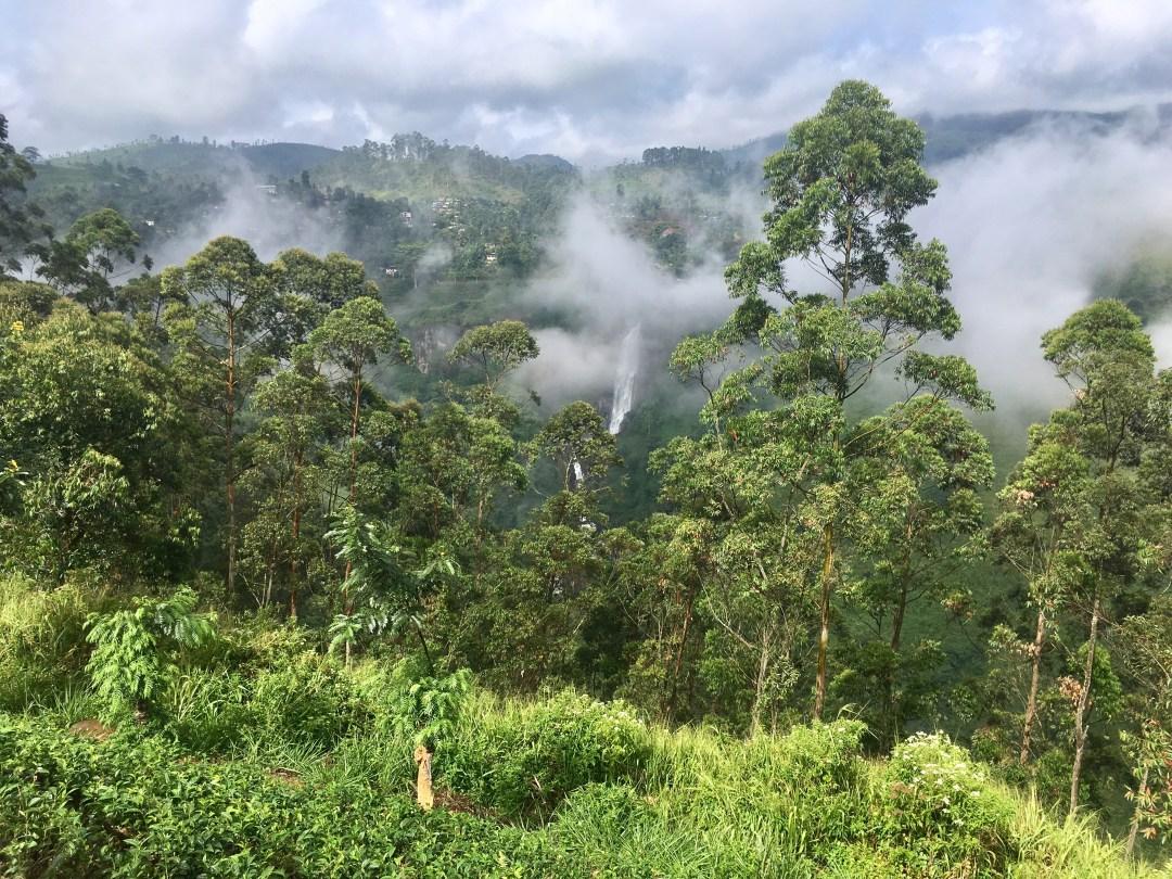 Mist covers Devon falls near Nuwara Eliya Sri Lanka