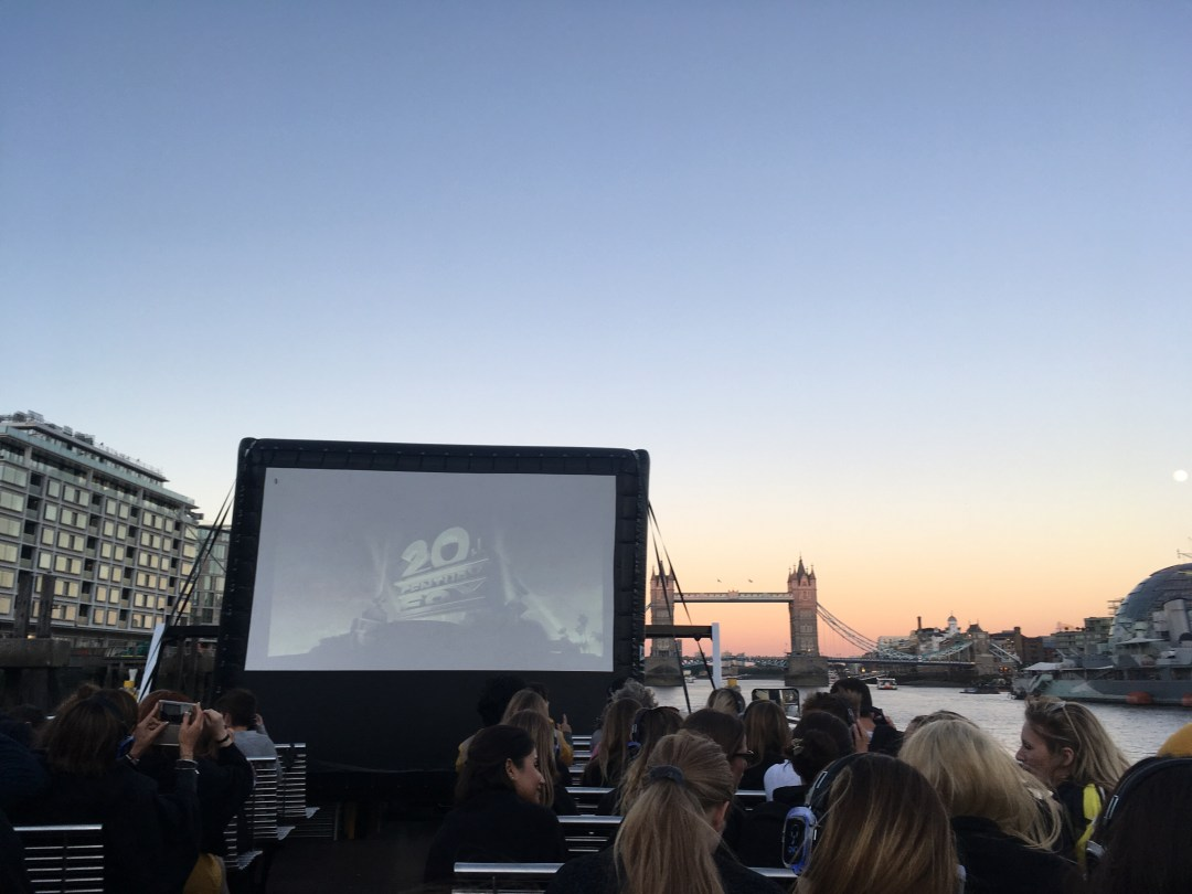 Outdoor film on a boat on the Thames in London