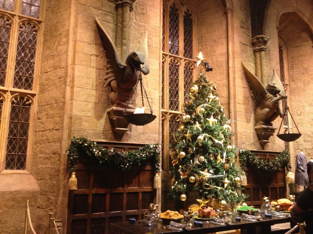 The Great Hall decorated with Christmas trees