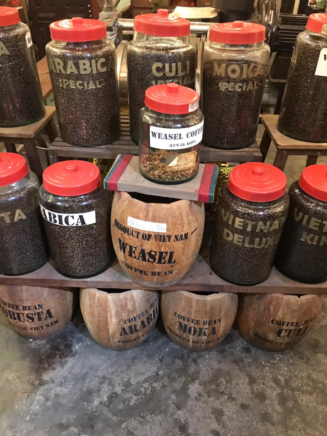 Barrels of Vietnamese Coffee in a shop in Hoi An, Vietnam