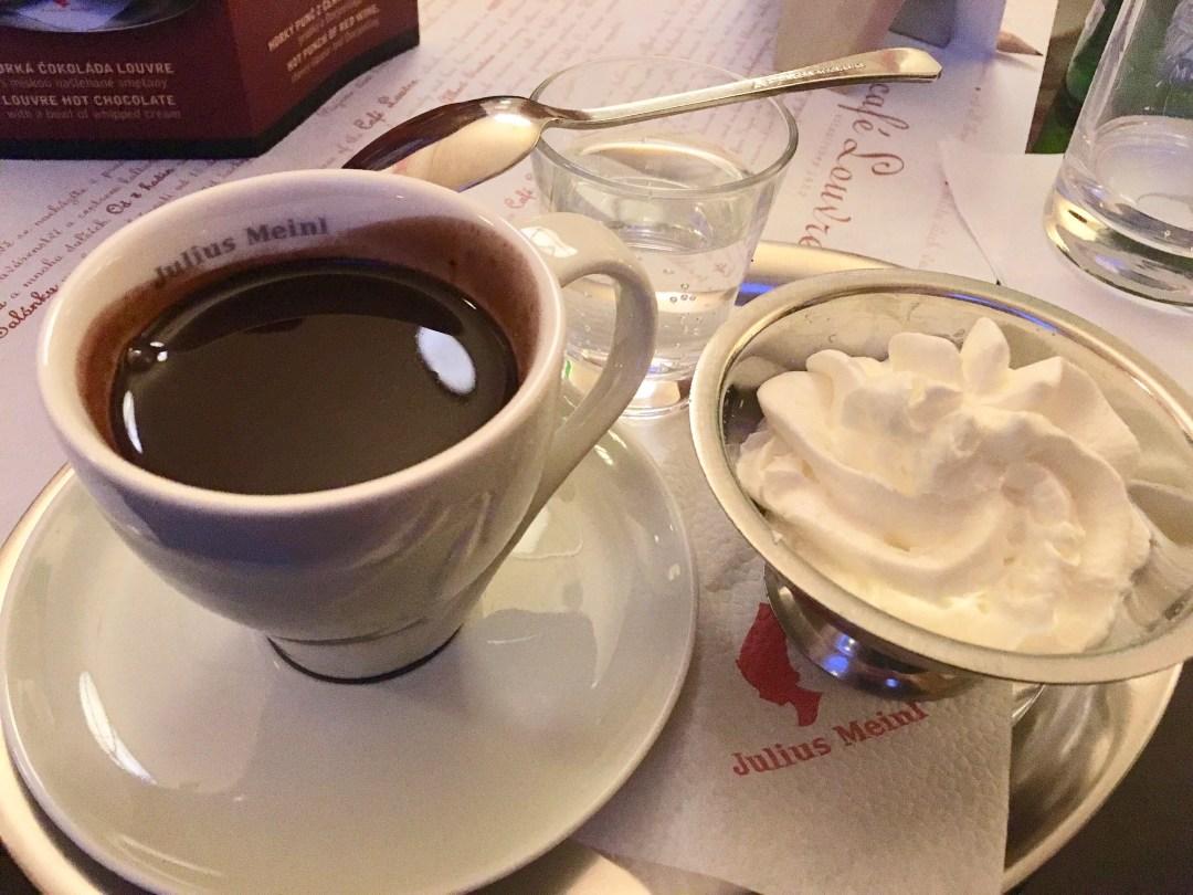 Hot chocolate at Cafe Louvre in Prague, Czech Republic