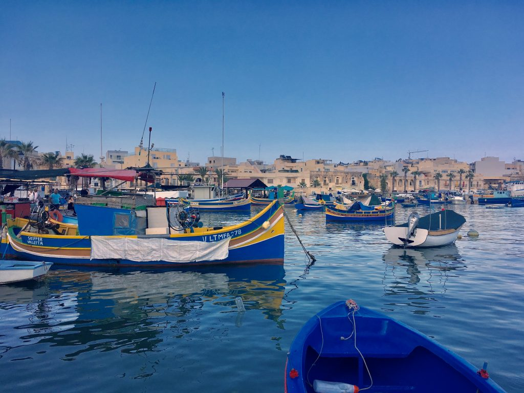 Luzzas, Malta's traditional fishing boats, in Marsaxlokk