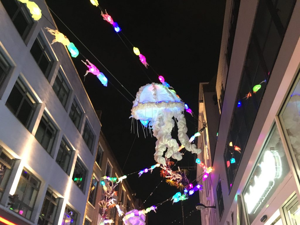 Jelly fish shaped Christmas lights on London Carnaby Street in 2019