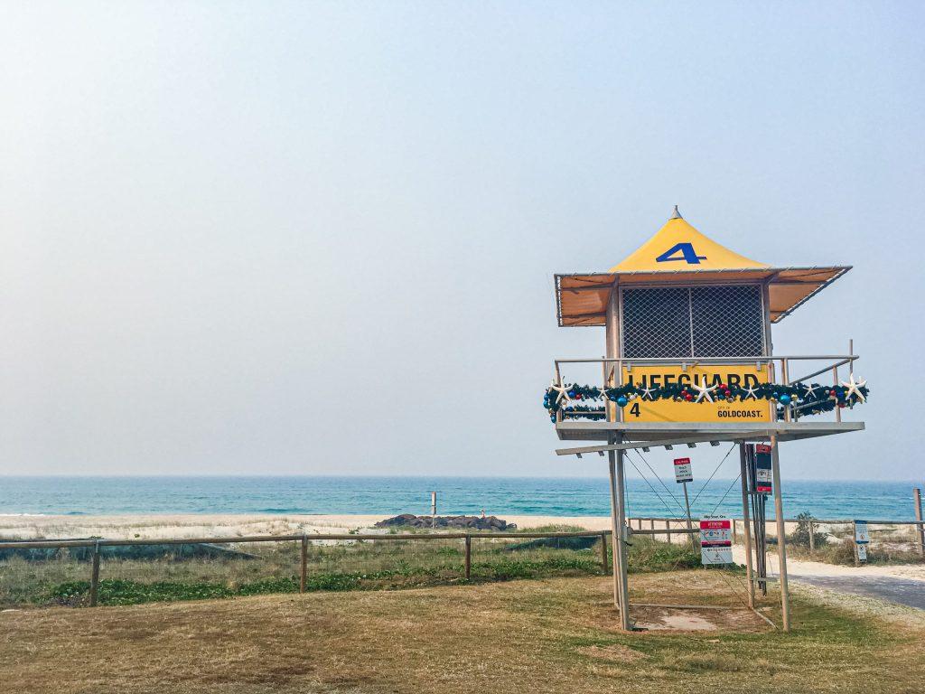 a festive lifeguard station on Kirra Beach on the Gold Coast of Australia