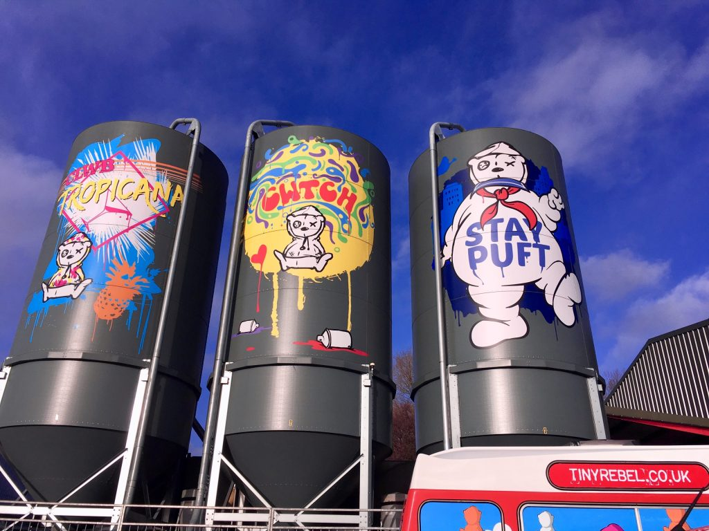 Tropicana, Cwtch, and Stay Puft distilleries at Tiny Rebel brewery in Newport Wales