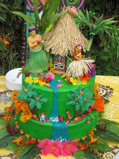 Tiki-themed cake