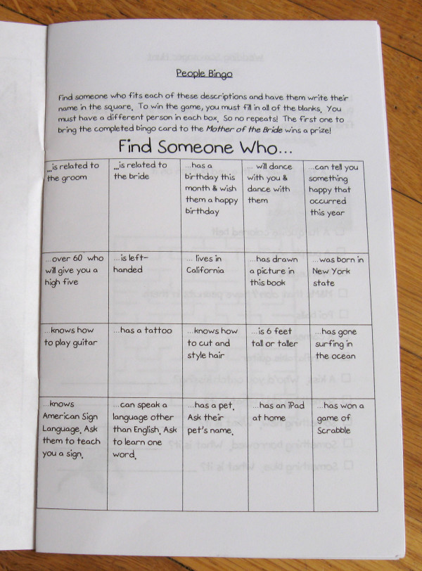 First page:  People Bingo!  We're hoping this will encourage our guests of all ages to interact.
