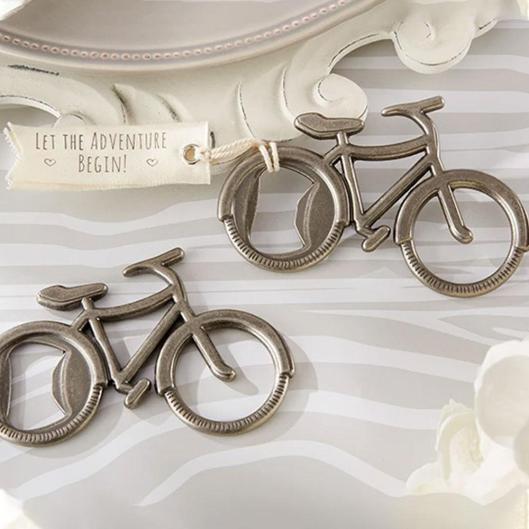 bicycle bottle opener wedding favor on offbeat bride