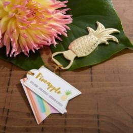 pineapple bottle opener wedding favor on offbeat bride