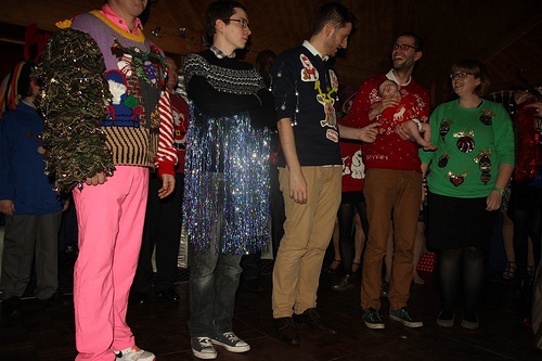OH YES: Christmas jumper contest at Tango and her bride Kim's reception! Classic. Photo by a friend of the couple