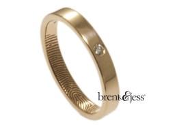 14k rose narrow fingerprint wedding ring with small diamond