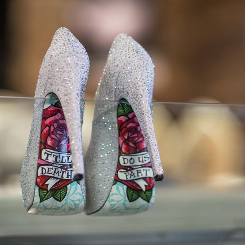 Wedding shoes with hidden secrets as seen on Offbeat Bride