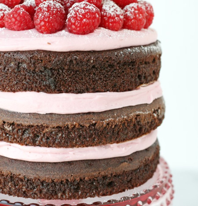 Chocolate Raspberry Layer cake from @offbeatbride