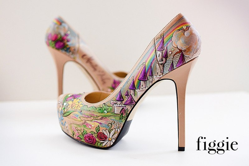 Custom painted wedding shoes by Figgie Shoes