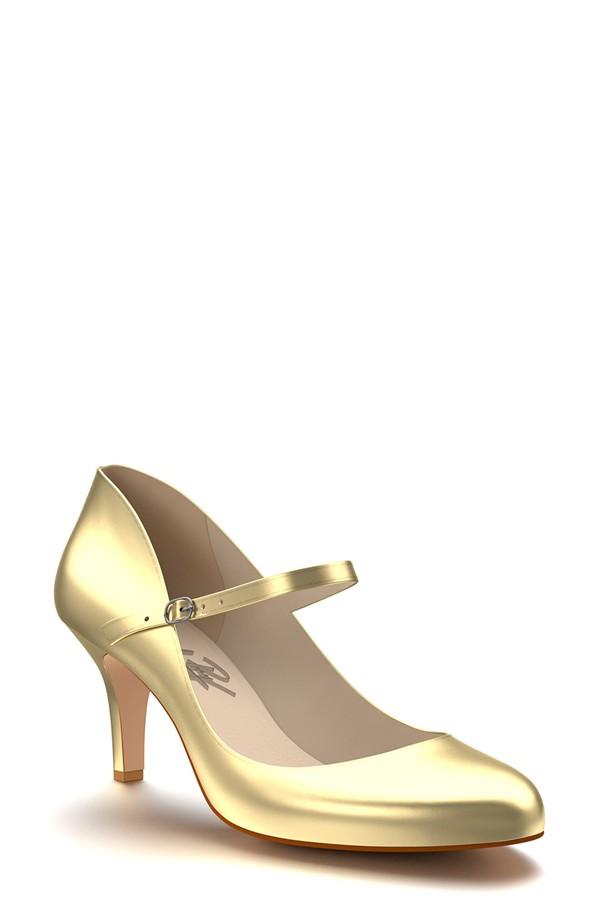 small gold shoes on offbeat bride