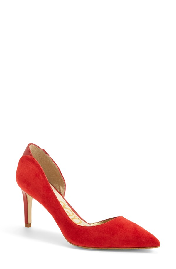 small red wedding shoes on offbeat bride