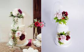 mini wedding cake replica ornament on offbeat bride (2)