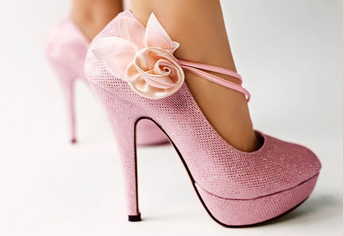 pink wedding shoes on offbeat bride