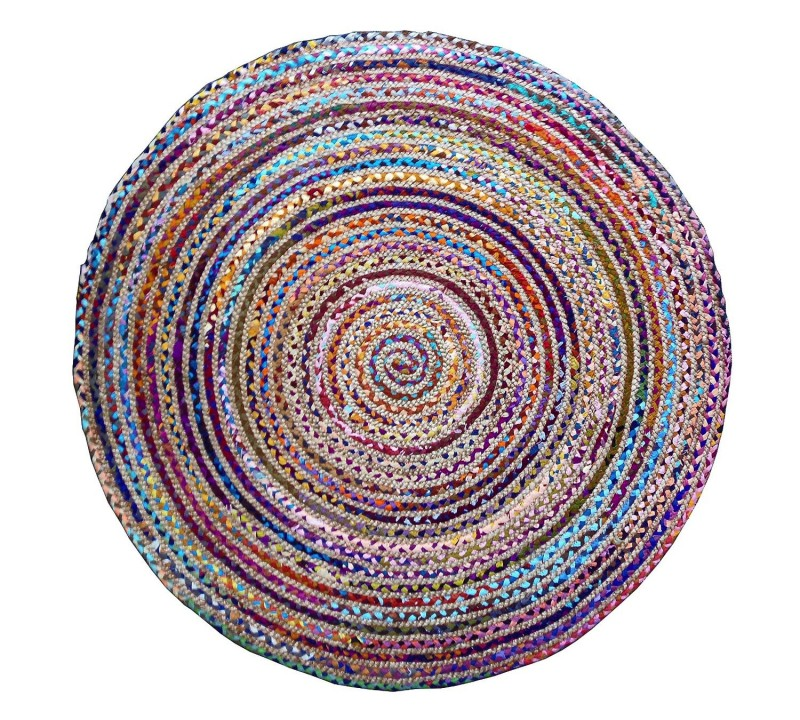 This rug is made from multi color re-cycled yarns!