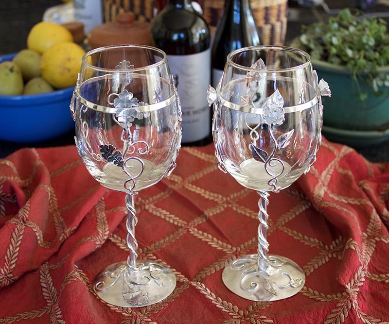 Silver rose and oak vine wine goblets!