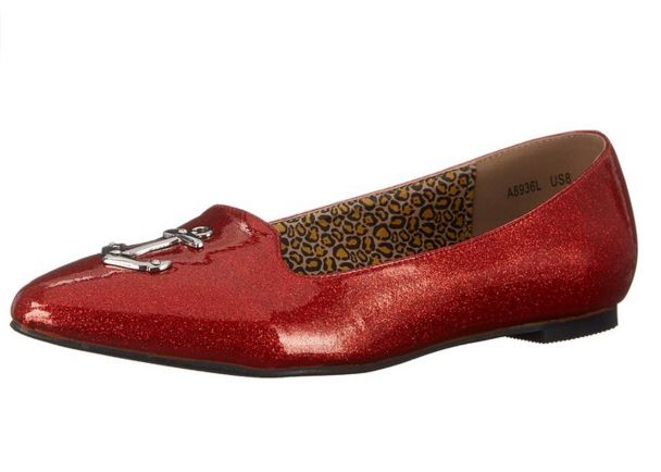 red sparkly flats on offbeat bride
