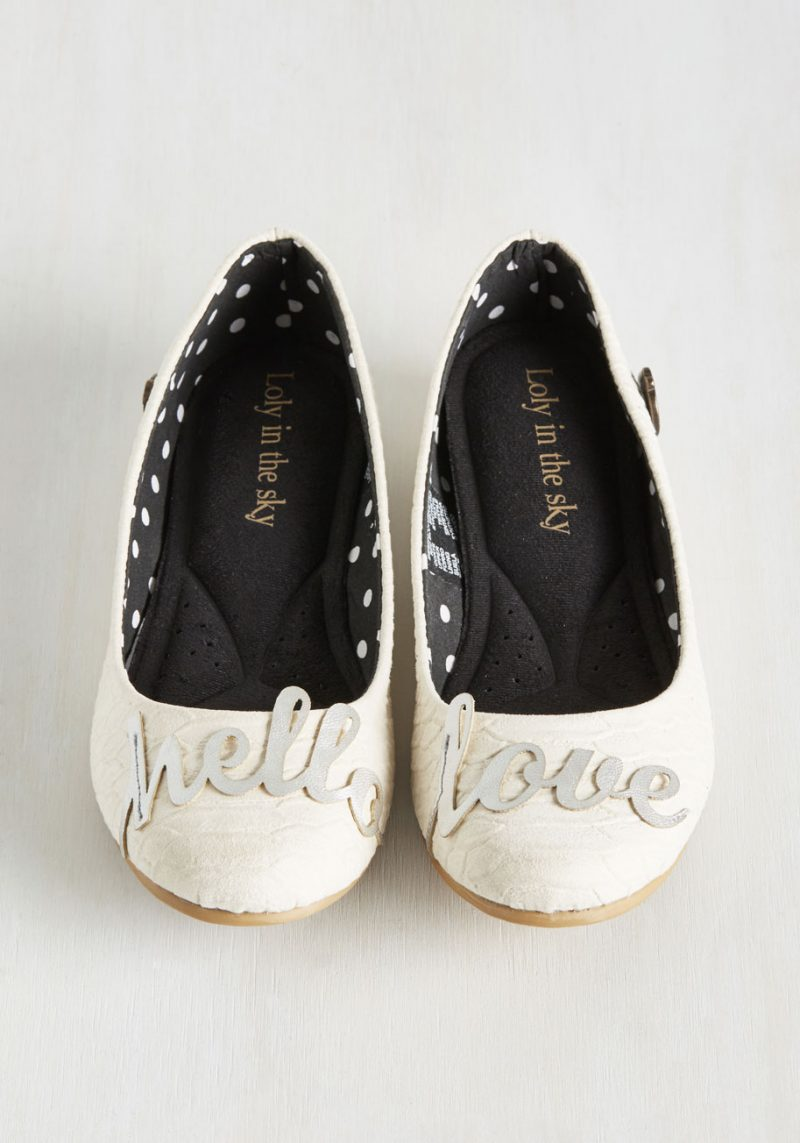 """How cute are these """"hello love"""" flats? Only $50 too."""