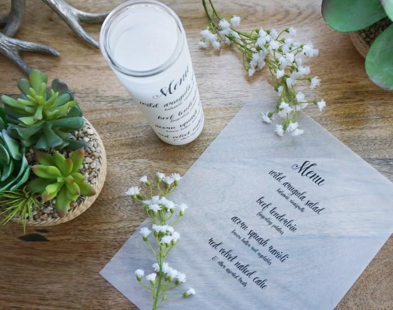 DIY menu candles from @offbeatbride