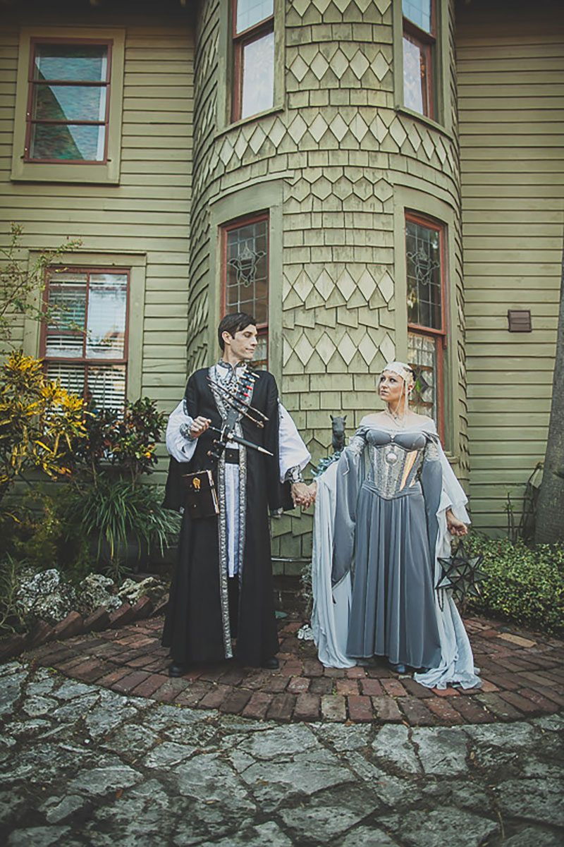 Prepare to squeal at the ARMORED corset dress at a fantasy RPG-themed wedding