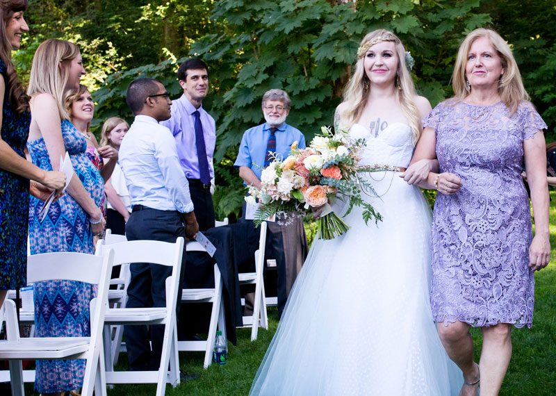 Cats, balloons, and gold glitter at this boho Portland wedding