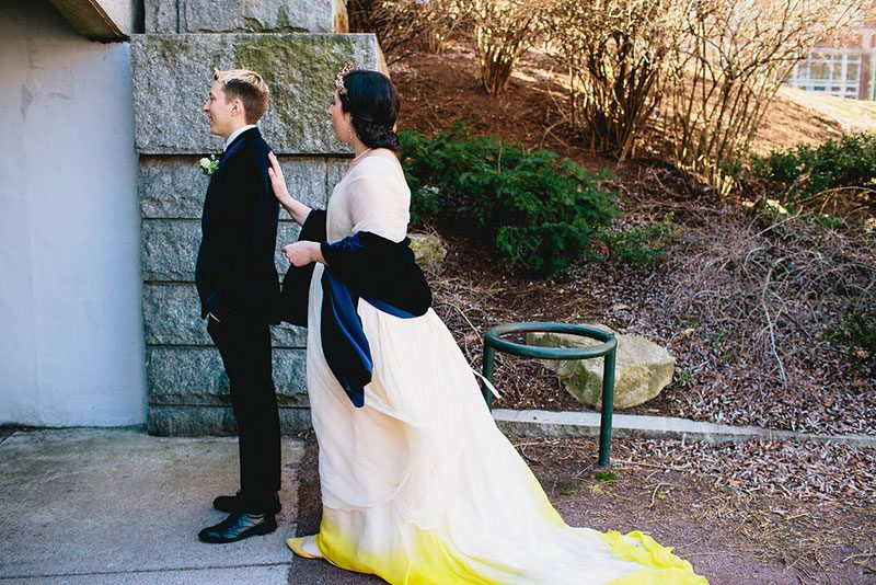 Don't miss the ombre dress at this elegant brunch wedding