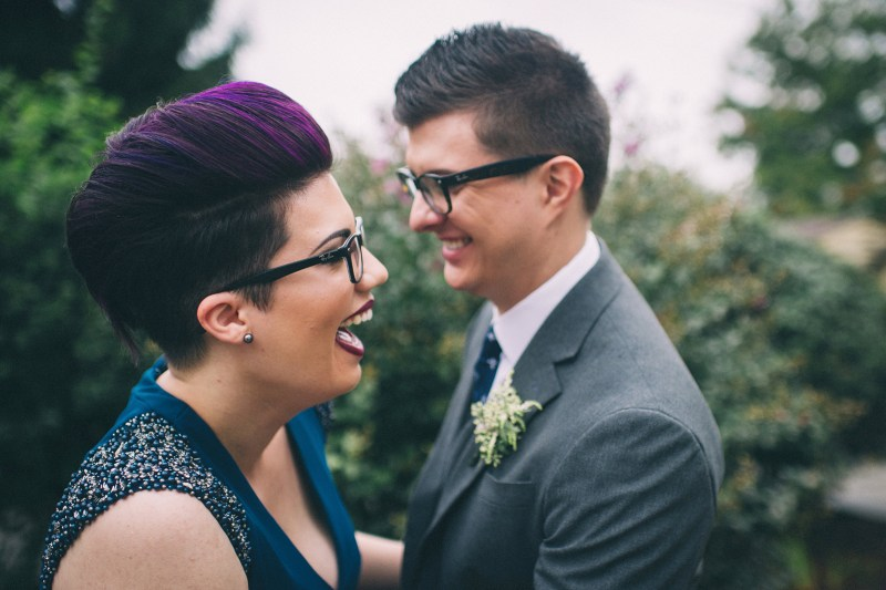 Fall in love with the purple hair, blue dress, and dancing puppies at this Kentucky wedding