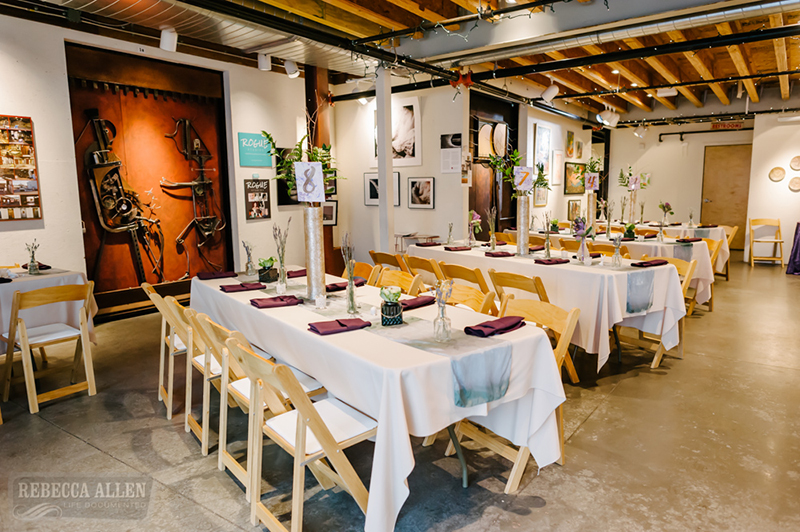 A little bit vintage, artsy, and nerdy: this art gallery meets kale wedding is divine