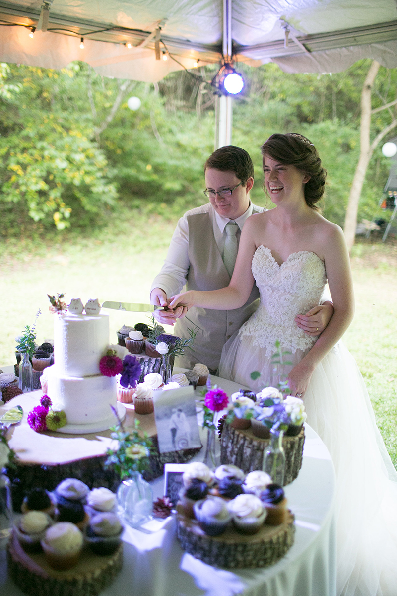 Our hearts warmed upon seeing this homegrown backyard woodland wedding
