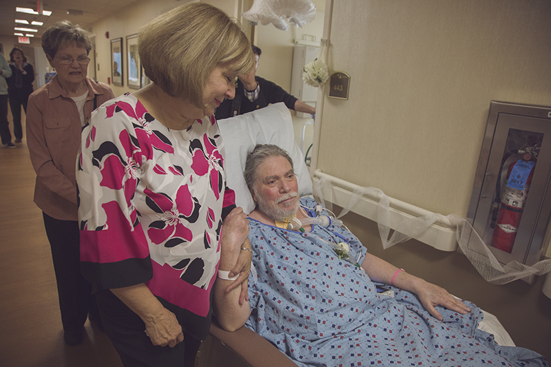 Hankies at the ready: this couple made the decision to have a last-minute hospital bedside wedding