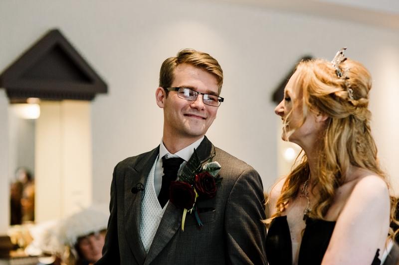 This Liverpool Harry Potter wedding had a black wedding dress, 8-foot marauders map, & wand duel