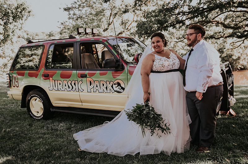 A Jurassic Park wedding with a real park vehicle and dino attack